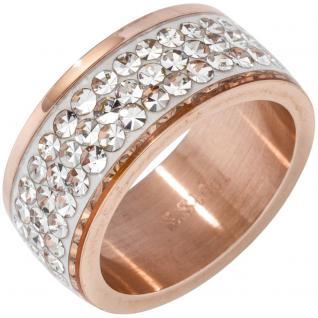 Damen Ring Edelstahl mit rotgold farben beschichtet mit SWAROVSKI® ELEMENTS