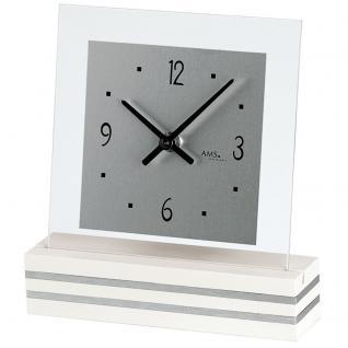AMS 1108 Tischuhr Quarz analog weiß modern eckig mit Glas und Aluminium