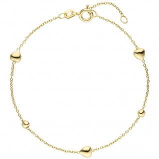 Armband Herz Kugel 925 Sterling Silber gold vergoldet 19 cm