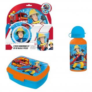 FEUERWEHRMANN SAM Frühstücks-Set für Kinder Kindergeschirr Trinkflasche Brotdose