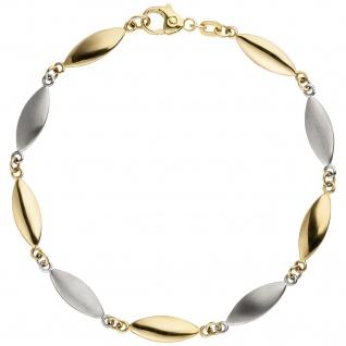 Armband 585 Gold Gelbgold Weißgold bicolor matt 19, 5 cm Goldarmband - Vorschau 2