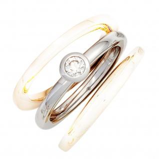Damen Ring 585 Gold Weißgold 1 Diamant Brillant 0, 17ct. Diamantring Weißgoldring