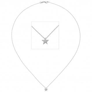 Collier Kette mit Anhänger Stern 585 Gold Weißgold 16 Diamanten Brillanten 42 cm