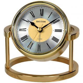 Rhythm 7958 Tischuhr Quarz golden ohne Ticken mit Weckfunktion Wecker