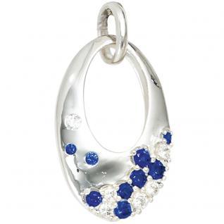 Anhänger oval 925 Sterling Silber rhodiniert mit Zirkonia blau