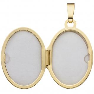 Medaillon oval 585 Gold Gelbgold Anhänger zum Öffnen - Vorschau 3