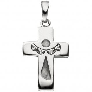 Anhänger Kreuz Schutzengel Kreuz 925 Silber mattiert 4 Zirkonia Kreuzanhänger