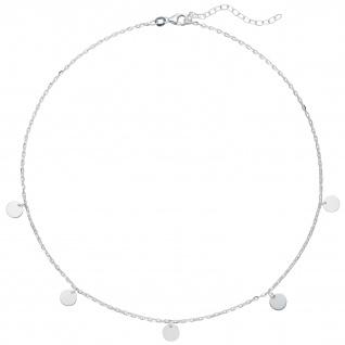 Collier Halskette 925 Sterling Silber diamantiert 44 cm Kette Silberkette