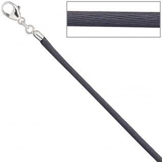 Collier Halskette Seide grau 2, 8 mm 42 cm, Verschluss 925 Silber Kette
