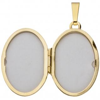 Medaillon oval für 2 Fotos 333 Gold Gelbgold matt Anhänger zum Öffnen - Vorschau 3