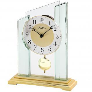 AMS 1167 Tischuhr Quarz mit Pendel messing farben golden Metall mit Glas