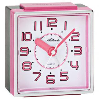 Atlanta 1938/17 Wecker Quarz analog rosa pink leise ohne Ticken mit Licht Snooze
