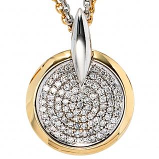 Anhänger rund 585 Gold Gelbgold Weißgold bicolor 91 Diamanten Brillanten - Vorschau 2