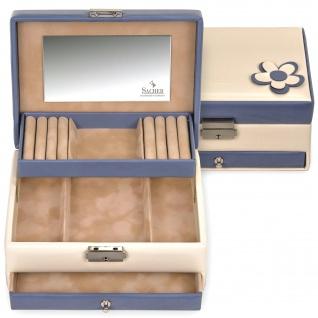 Sacher Schmuckkoffer Schmuckkasten BELLA FIORE creme blau Schloss Spiegel