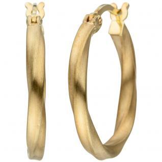 Creolen gedreht 925 Sterling Silber gold vergoldet matt Ohrringe