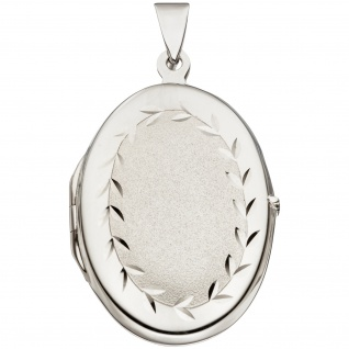 Medaillon oval 925 Sterling Silber rhodiniert mattiert Anhänger zum Öffnen