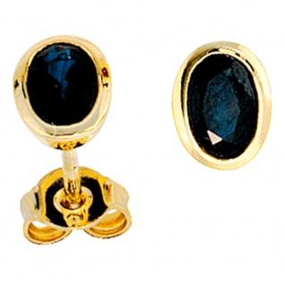 Ohrstecker oval 585 Gold Gelbgold 2 Safire blau Ohrringe Goldohrstecker