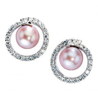 Ohrstecker 585 Gold Weißgold 50 Diamanten 2 Süßwasser Perlen rosa rosé Ohrringe