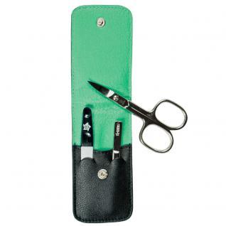 Pfeilring Maniküretui, Nappaleder schwarz, Futter grün, 3-teilige Bestückung