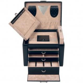 Sacher Schmuckkoffer Schmuckkasten schwarz abschließbar Uhrenfach Schubladen - Vorschau 3