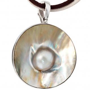 Einhänger Anhänger Mabe Perle 925 Sterling Silber rhodiniert Perlenanhänger