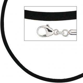 Collier Halskette Seide schwarz 2, 8 mm 42 cm, Verschluss 925 Silber Kette