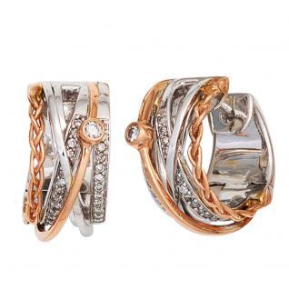 Creolen rund 585 Gold Weißgold Rotgold bicolor 52 Diamanten Ohrringe Goldcreolen