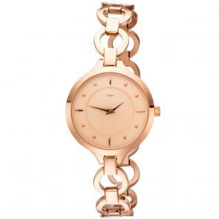 JOBO Damen Armbanduhr Quarz Analog Edelstahl roségold plattiert Damenuhr