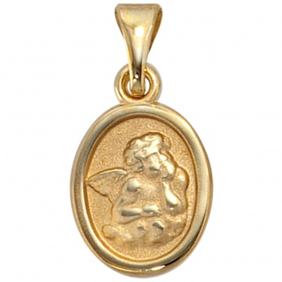 Kinder Anhänger Engel Schutzengel 333 Gold Gelbgold mattiert Kinderanhänger - Vorschau 5