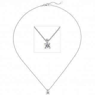 Collier Kette mit Anhänger 585 Gold Weißgold 1 Diamant Brillant 0, 50 ct. 45 cm