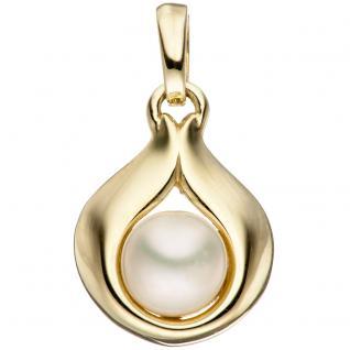 Anhänger Tropfen 333 Gold Gelbgold 1 Süßwasser Perle Perlenanhänger Goldanhänger