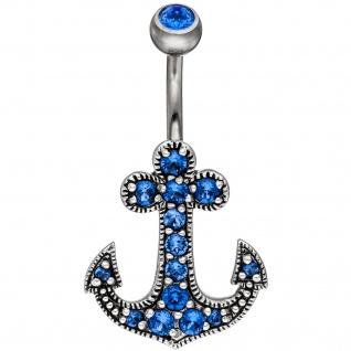 Bauchnabel Piercing Anker 925 Silber SWAROVSKI® ELEMENTS blau Stab + Kugel Titan