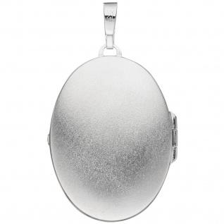 Medaillon oval 925 Sterling Silber mattiert geschwärzt Anhänger zum Öffnen - Vorschau 2