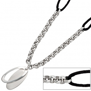 Collier Halskette Edelstahl mit Seidenband kombiniert 45 cm Kette