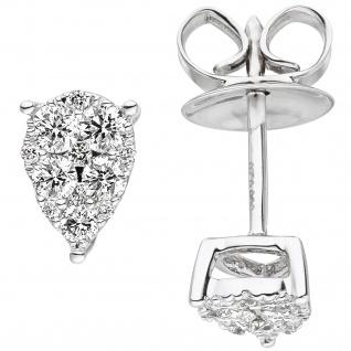 Ohrstecker 585 Gold Weißgold 24 Diamanten Brillanten Ohrringe Diamantohrstecker