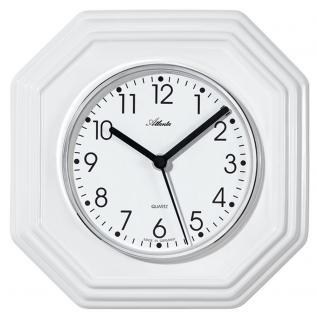 Atlanta 6010 Küchenuhr Wanduhr Küche Quarz analog Keramik weiß achteckig