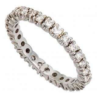 Memory Ring 585 Gold Weißgold mit Diamanten Brillanten rundum 1 ct. Memoryring