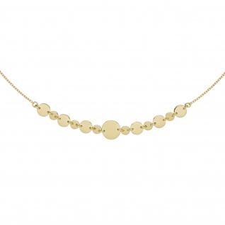 Collier Halskette mit Plättchen 925 Sterling Silber gold vergoldet 45 cm Kette