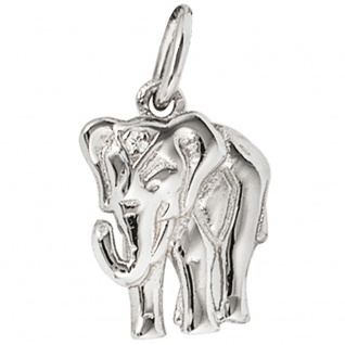 Anhänger Elefant 585 Gold Weißgold 1 Diamant Brillant Weißgoldanhänger