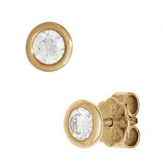 Ohrstecker rund 585 Gold Gelbgold 2 Diamanten Brillanten 0, 15ct. Ohrringe