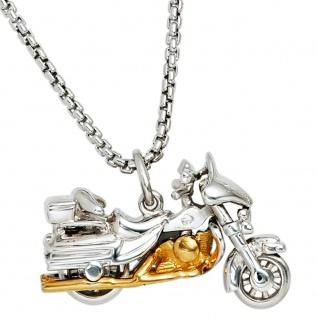 Anhänger Motorrad 925 Sterling Silber rhodiniert bicolor vergoldet - Vorschau 3