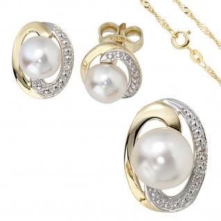 Schmuck-Set 585 Gelbgold bicolor 3 Perlen 4 Diamanten Ohrringe und Kette 42 cm