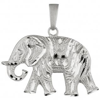 Anhänger Elefant 925 Sterling Silber teil matt Silberanhänger Elefantenanhänger