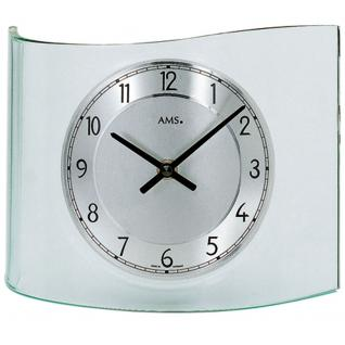 AMS 131 Tischuhr Quarz analog silbern geschwungen mit Glas