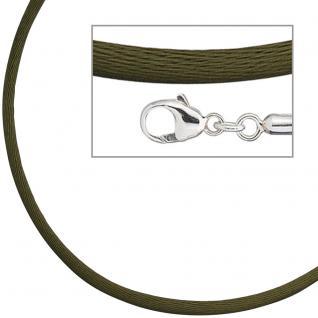 Collier Halskette Seide oliv grün 2, 8 mm 42 cm, Verschluss 925 Silber Kette