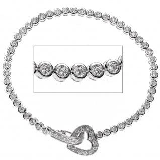 Armband Herz 925 Sterling Silber mit Zirkonia 19 cm Silberarmband - Vorschau 2