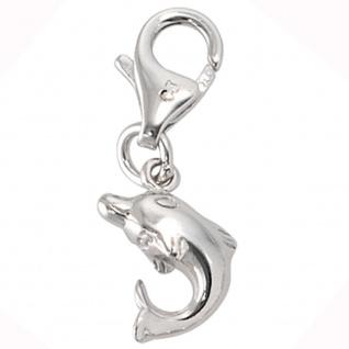 Einhänger Charm Delfin 925 Sterling Silber rhodiniert