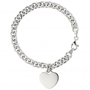 Armband mit Anhänger Herz 925 Sterling Silber 19 cm Herzarmband - Vorschau