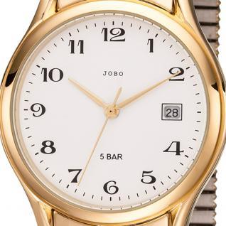 JOBO Herren Armbanduhr Quarz Analog Edelstahl god vergoldet Flexband Datum - Vorschau 2