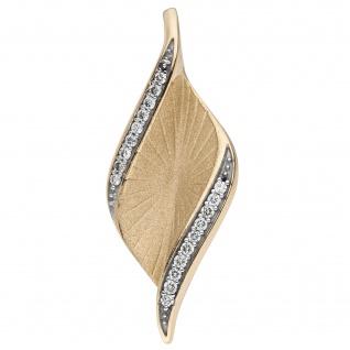 Anhänger 585 Gold Gelbgold matt 19 Diamanten Brillanten 0, 08ct.